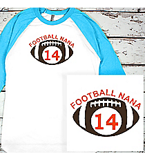 Football Supporter 3/4 Sleeve Raglan Tee #BB453 *Personalize Your Name and Colors