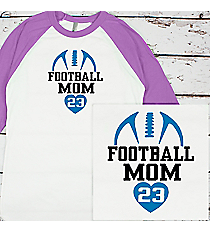 Football Heart 3/4 Sleeve Raglan Tee #BB453 *Personalize Your Text and Colors