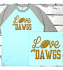 Love My Football Team 3/4 Sleeve Raglan Tee #BB453 *Personalize Your Team and Colors