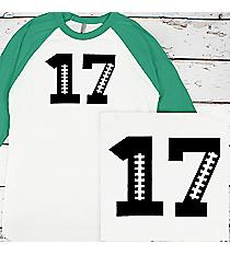 Football Number 3/4 Sleeve Raglan Tee #BB453 *Personalize It!