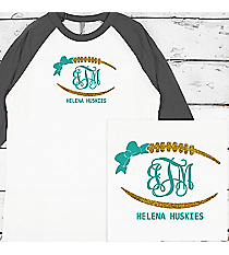 Football Outline with Bow Monogram 3/4 Sleeve Raglan Tee #BB453 *Personalize Your Text and Colors