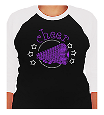 "Sparkling ""Cheer"" 3/4 Sleeve Raglan Tee CD03  *Personalize Your Colors"