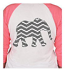 Chevron Elephant 3/4 Sleeve Raglan Tee *Choose Your Colors