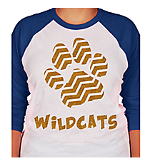 Chevron Paw 3/4 Sleeve Raglan Tee *Choose Your Colors