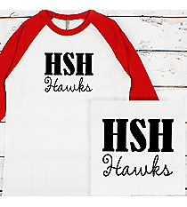 School Initials and Team Name 3/4 Sleeve Raglan Tee #BB453 *Personalize Your Text and Colors