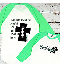 Football Cross 3/4 Sleeve Raglan Tee #BB453 *Personalize Your Text and Colors