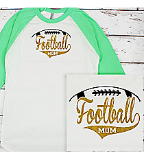 Football Mom 3/4 Sleeve Raglan Tee #BB453 *Personalize Your Text and Colors