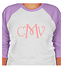 Large Vinyl Mongram 3/4 Sleeve Raglan Tee *Customizable