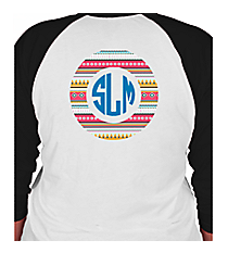 Monogram Circle 3/4 Sleeve Raglan Tee *Choose Your Colors