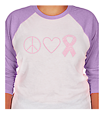 "Dazzling ""Peace, Love, and Hope"" 3/4 Sleeve Raglan Tee 4.25"" x 9.25"" Design PR03 *Choose Your Shirt Color"