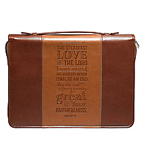 Lamentations 3:22 Two-Tone Brown Large Bible Cover #BBL572