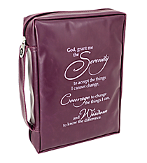 Purple Faux Leather Serenity Prayer Bible Cover #BBL507