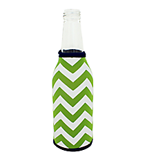 Lime and White Chevron with Navy Trim Bottle Cozy #BCOZ-LMNV
