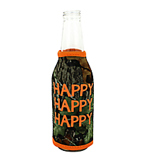 "Mossy Oak with Orange Trim ""Happy Happy Happy"" Bottle Cozy #BCOZ-MOO-HAP"