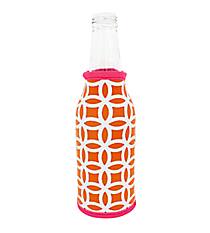 Orange and White Interlocking Circles with Pink Trim Bottle Cozy #BCOZ-ORPK