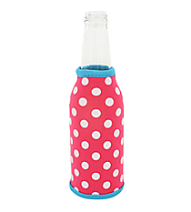 Pink and White Polka Dots with Turquoise Trim Bottle Cozy #BCOZ-PKTQ