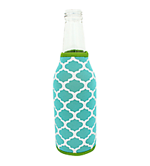 Turquoise and White Geometric Print with Lime Trim Bottle Cozy #BCOZ-TQLM