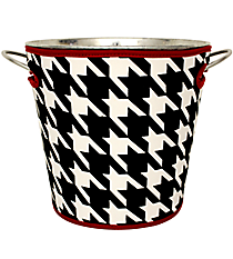 Houndstooth with Crimson Trim Cover and Ice Bucket Set #OMU-BCVR-HT