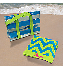 Blue and Lime 2-in-1 Towel and Tote Set #44021