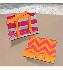 Fuchsia and Orange 2-in-1 Towel and Tote Set #44020