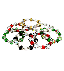 One Holiday Art Glass Beaded Stretch Bracelet #X-FACBR-SHIPS ASSORTED