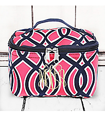 Pink and Navy Trellis Case with Navy Trim #BIA277-NAVY