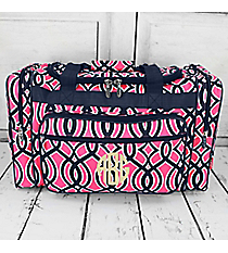 "Pink and Navy Trellis Duffle Bag 20"" #BIA420-NAVY"