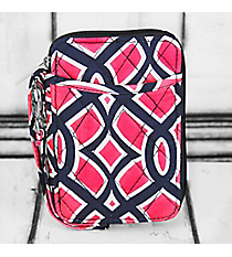 Pink and Navy Trellis Quilted Wristlet with Navy Trim #BIA495-NAVY