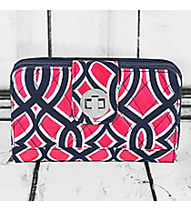 Pink and Navy Trellis Quilted Organizer Clutch Wallet with Navy Trim #BIA517-NAVY