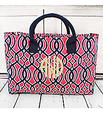 Pink and Navy Trellis Wide Tote Bag with Navy Trim #BIA581-NAVY