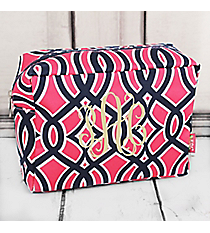 Pink and Navy Trellis Cosmetic Case with Navy Trim #BIA613-NAVY