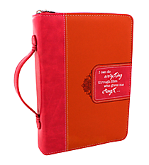 LuxLeather Pink and Orange Philippians 4:13 Large Bible Cover #BBL524