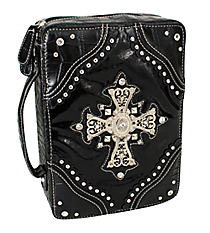 Croco and Black Studded Cross Bible Cover #CAB-455-BLACK