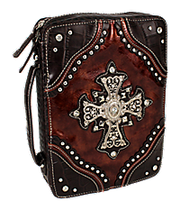 Croco and Brown Studded Cross Bible Cover #CAB-455-BROWN