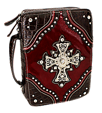 Croco and Burgundy Studded Cross Bible Cover #CAB-455-BURGUNDY