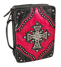 Croco and Fuchsia Studded Cross Bible Cover #CAB-455-FUCHSIA