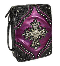 Croco and Purple Studded Cross Bible Cover #CAB-455-PURPLE