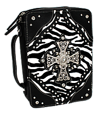 Zebra and Black Studded Cross Bible Cover #ZBB-455-BLACK