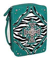 Zebra and Turquoise Studded Cross Bible Cover #ZBB-455-D.TURQ