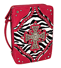 Zebra and Fuchsia Studded Cross Bible Cover #ZBB-455-FUCHSIA