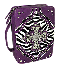 Zebra and Purple Studded Cross Bible Cover #ZBB-455-PURPLE