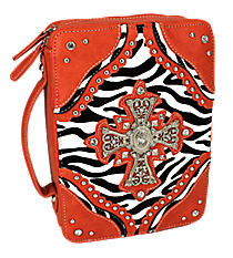 Zebra and Sienna Studded Cross Bible Cover #ZBB-455-SIENNA