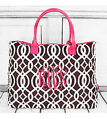 Brown Trellis Quilted Shoulder Bag with Hot Pink Trim #BIQ1515-BROWN