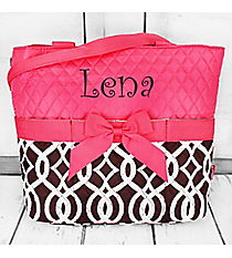 Brown Trellis Quilted Diaper Bag with Hot Pink Trim #BIQ2121-BROWN