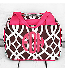 Brown Trellis Insulated Bowler Style Lunch Bag with Hot Pink Trim #BIQ255-BROWN