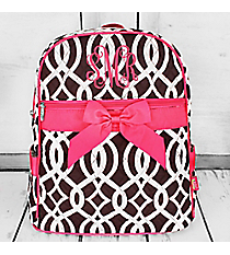 Brown Trellis Quilted Backpack with Hot Pink Trim #BIQ2828-BROWN