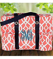 Coral Trellis Utility Tote with Navy Trim #BIQ585-CORAL