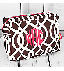 Brown Trellis Cosmetic Case with Hot Pink Trim #BIQ613-BROWN