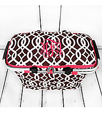 Brown Trellis with Hot Pink Trim Collapsible Insulated Market Basket with Lid #BIQ658-BROWN