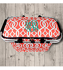 Coral Trellis Collapsible Insulated Market Basket with Lid #BIQ658-CORAL